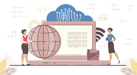 SaaS Cloud Flexible Software for Worldwide Business Development and Wireless Management. Coding for on-Demand Access. Businesswoman, Huge Laptop with Binary Code, Earth Glob. Vector Illustration