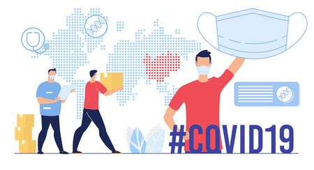 Humanitarian Aid for Affected by Coronavirus Epidemic Territory, Export in Special Protection and Masks, International Support Concept. Worker Carrying Cardboard Box Flat Vector Illustration