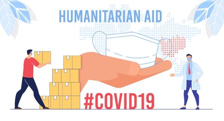 Humanitarian Support, Goodwill Mission in Suffering from Coronavirus Epidemic Country, Intentional Help, Supplying Masks Concept. Worker Unloading, Carrying Boxes Flat Vector Illustration