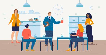 Coffee Break in Company Office, Lunch at Work, Employees Communication Concept. Businesspeople Characters, Office Workers Team Drinking Coffee, Talking About Work Trendy Flat Vector Illustration