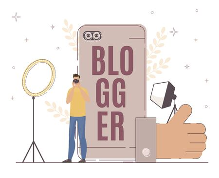 Blogger Work with Lighting Fixture for Good Result. Man Looking at Camera. Large Thumb up Sign. Maintaining Successful Blog Depend on Many Factor. Big Smartphone, Flat Illustration.