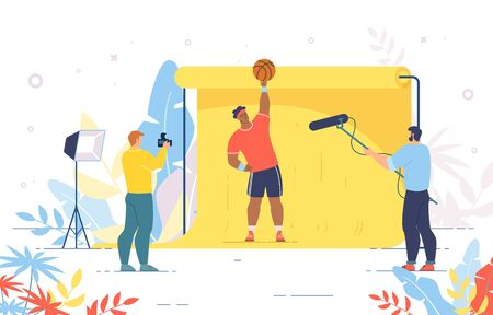Basketball Player Posing for Photo and Recording Video. Photographer and Cameraman Shooting Crew Working with Sportsman Character. Professional Photosession with Champion. Vector Illustration Ilustração