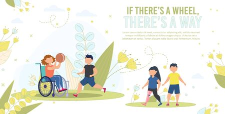 Disabled Children Active and Happy Life, Social Equality Trendy Flat Vector Banner, Poster Template. Disabled Girl in Wheelchair, Injured Child on Prosthesis Playing, Walking with Friend Illustration Vetores