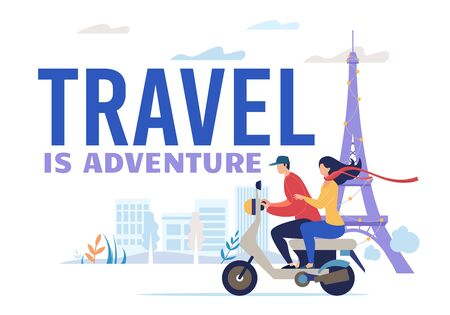 Man and Woman Rider Couple Trip on Motorbike. Lover Trip, Newlyweds Traveler Riding Motorcycle. Travel and Adventure Poster. City Excursion Urban Transportation, Active Lifestyle. Vector Illustration