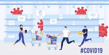 People in Facial Mask in Panic with Shopping Trolley Cart Running between Empty Store Shelves. Protective Wear and Food Sold Out. Coronavirus Particle Pandemic Attack. Shortage and Insufficient