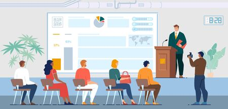 Company Shareholders Report, Business Meeting with Investors, Seminar or Courses for Employees Concept. Businessman Public Speech for Audience, Project Presentation Trendy Flat Vector Illustration