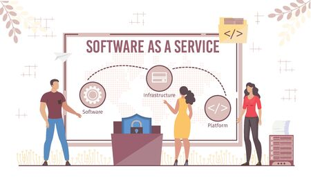 Software Infrastructure Platform Business Model Development. IaaS PaaS and SaaS Combination. Businesspeople and Computer with Service Infographic. Secure Data Exchange. Vector Illustration