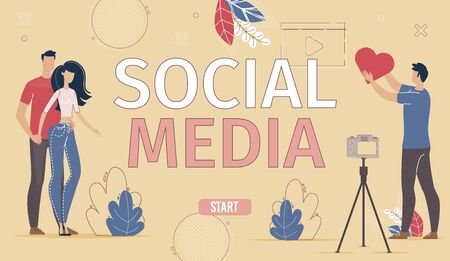 Business Company Social Network Account, Digital Marketing with Social Media internet Audience Engaging Campaign Web Banner, Landing Page. Man and Woman online User Trendy Flat Vector Illustration