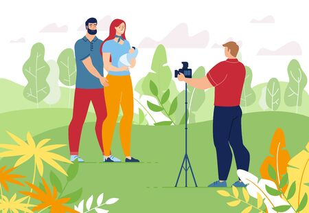 Young Parent with Newborn Baby in Hand Photo Session on Nature Background. Photographer Cameraman Making Pictures with Father, Mother and Infant. Happy Family Memory. Vector Illustration