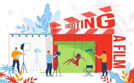 Cinematography Industry, Video Content Production Company, Movie Making Team Work Trendy Flat Vector Concept. Movie Director, Screenwriter Managing Actress Action Scene Filming Process Illustration