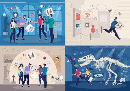 Friends Group Solving Mystery in Quest Room Concepts Set. People Playing in Intellectual Game, Searching Answers for Questions About Business, Natural History and Art Trendy Flat Vector Illustrations