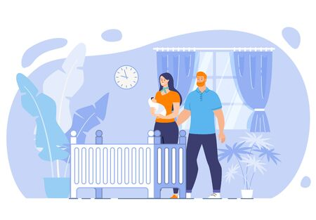 Happy Maternity and Parenthood, Cozy Home for Baby Concept. Smiling Mother Holding Newborn on Hands, Lull Baby at Night, Caring Husband Hugging Loved Wife with Child Trendy Flat Vector Illustration