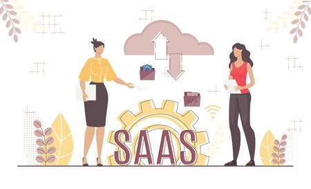 Boss and Employee Cooperation via Saas System. Woman Coworker, Business Partner Using Cloud Storage Service for Secure Data Exchange. Effective Wireless Management Platform. Vector Illustration