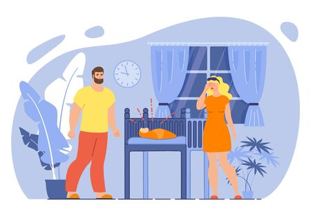 Parenthood Stress and Fatigue, Infant Sleep Problems Concept. Tired, Exhausted Father and Mother Characters, Sleepy Couple Standing near Bed with Crying Child at Night Trendy Flat Vector Illustration