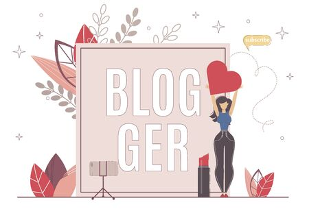 Blogger Gaining Viewers Love by Good Information. Beauty Blogger Girl Holding Heart in Hand, Next to her Big Lipstick, Phone on Tripod. She Talk about Makeup, Product and Application.