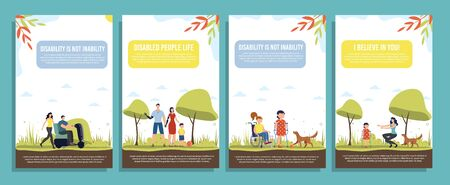 Disabled People Happy Life, Positive Mindset, Family Support Trendy Flat Vector Vertical Banners, Posters Template Set. Disabled Adults and Children Resting with Family and Friend in Park Illustration