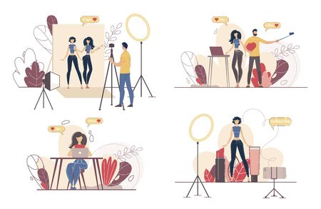 Social Media Content Maker, Blogging People, Live Video Streamer Characters Set. Cameraman Recording Footage in Studio, Woman Subscribing to Beauty Blogger Channel Trendy Flat Vector Illustration