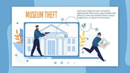 Landing Page Offering Qualified Museum Theft Protection. Detected Robber Security Alarm System Promotion. Digital Surveillance. Police Officer with Gun Detecting Burglar Stolen Picture Portrait 向量圖像