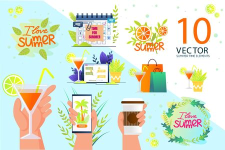 Summer Time Design Elements, Icons Flat Vectors Set. Cocktail Glass with Lemon Slice and Straw, Smartphone, Coffee Cup in Humans Hans, Shopping Packets, Calendar with Tasks Reminder Illustrations