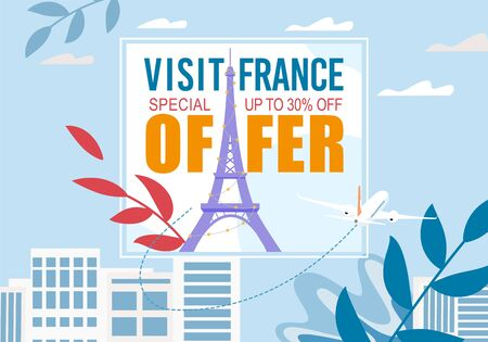 France Visit with Special Sale Discount Offer Advertisement. Promotion Text, Eifel Tower in Frame with Cityscape Silhouette Creative Foliage Design. Europe Excursion and Tourism. Vector Illustration Ilustração