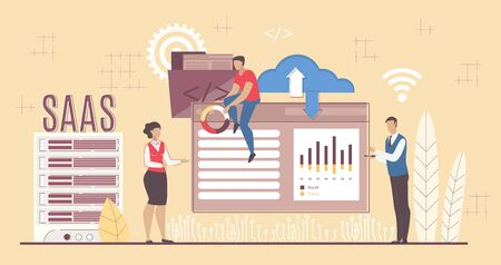 Saas Solution. Software Development and Applying for Business. Cloud Computing Service for Management. Businesspeople Partners Cooperating via Internet. REmote Project Control. Vector Illustration