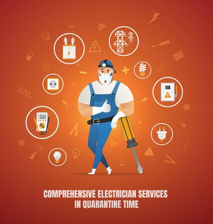 Comprehensive Electrician Services in Quarantine Time. Comprehensive Electrician Service Vector Concept. Workman Cartoon Character in Overall Uniform and Cap, Surrounded Electrical Equipment Icons