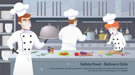 Banner Illustration Safety Food - Delivery Only. Commercial Kitchen with Cartoon Characters Chef Cook Dish Dinner. Vector Restaurant Kitchen with Culinary Staff Holding Round Cloche Tray with Food. Illustration