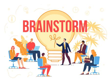 Brainstorm Creation Idea Workflow Process. Business Briefing Partner Meeting, Teamwork Task Discussion, Business Strategy Communication, Corporate Training. People at Laptop, Leader Point to Lightbulb Vector Illustration