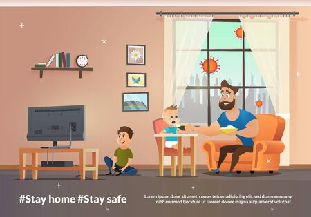 Vector Banner Illustration Stay Home and Stay Safe. Happy Father Having Fun. Smiling Dad Feeding Baby Boy in Highchair Porridge with Spoon while Eldest Son Playing Computer Games on TV Illustration