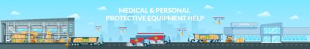 Medical and Personal Protective Equipment Help. Fast Delivering Goods from Warehouse to Supermarket Long Panoramic or Concept in Flat Design. Loaded Postal Drones and Cargo Trucks Delivering Freights