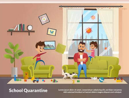 Father Sits with Children Home School Quarantine. Annoyed and Angry Father with Clenched Teeth Sitting at Sofa while Naughty Children Playing and Making Mess in Home, Little Daughter Pulling Dads Ear Ilustración de vector