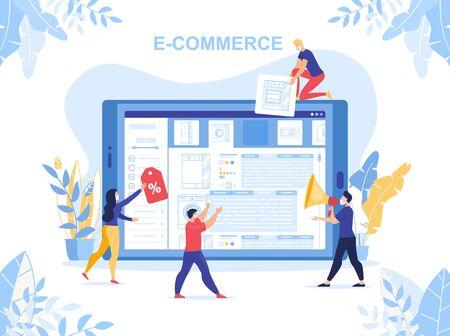 E-Commerce, Marketing Strategy, Online Business Organization during Quarantine. Worldwide Covid19 Coronavirus Pandemic. People Designer Engaged in Online Electronic Shop Development Mobile App 向量圖像