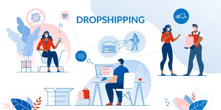 Dropshipping Set. Contactless Safety Conveyance in Coronavirus Covid19 Pandemic Condition. Healthcare Security Guarantee in Online Shopping, Express Delivery to Door in Quarantine. Parcel Disinfection