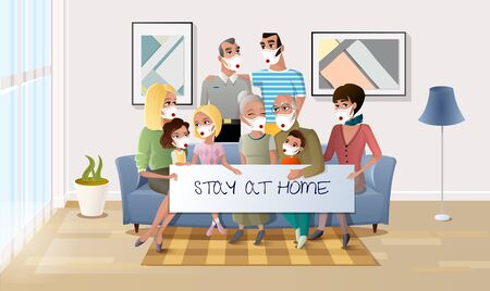 Quarantined Family Stay at Home During Pandemic. Happy Senior Couple Gathering Together with their Adult Children, Grandchildren and Great-Grandchildren in Living Room. Four Generation United Family