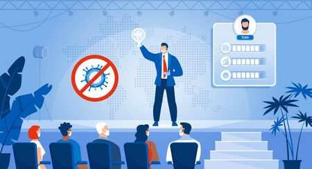 Businessman Self-Presentation Training. Successful Business Idea Promotion Startup Presentation. Advanced Communication Skill Course for Audience. Entrepreneur in Mask on Stage. After Covid19 Pandemic