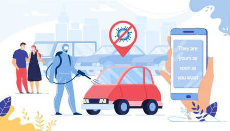 Security Car Buying, Renting via Smartphone on Covid19 Outbreak Pandemic Quarantine. Husband and Pregnant Wife Choosing Automobile. Man Disinfecting Vehicle. Human Hand Holding Mobile Phone