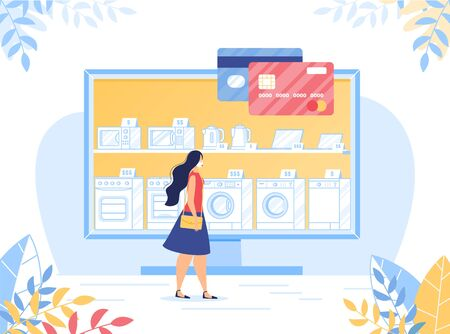 Secure Shopping in Online Electronic Shop on Covid19 Coronavirus Quarantine. Woman in Facemask Choosing Home Appliance in Electronic Shop via Internet. Contactless Payment via Plastic Bank Credit Card 일러스트