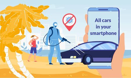 Mobile Application for Rent Safety Car on Covid19 Outbreak Pandemic Quarantine. Man Tourist in Respiratory Facemask Looking for Automobile on Sunny Beach. Man Disinfecting Vehicle for Share