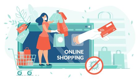 Online Shopping on Covid19 Quarantine, Stay at Home. Self-Isolate. Woman Order Clothes with Sale and Discount. Human Hand Holding Credit Card. Wireless Payment. Tiny People, Laptop, Digital Ecommerce