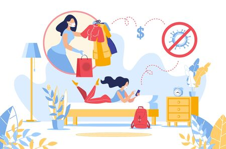Online Fashion Shopping from Home in Covid19 Coronavirus Pandemic Quarantine. Young Woman Keeping Distance for Decrease Order Clothes Goods via Mobile App. Secure Purchase and Delivery Service