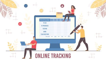 Online Tracking for Remote Staff Control Application. Man with Pen Planning, Entering and Correcting Daily Schedule on Digital Screen. Guy and Woman Using App on Laptop and Mobile. Vector Illustration  イラスト・ベクター素材