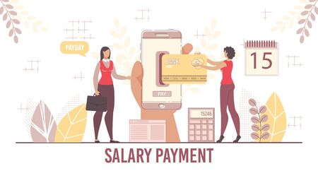 Payroll and Salary Payment Service Platform for Business. Human Hand Holding Smartphone, Boss Chef Announcing Payday, Woman Employee Receiving Money on Card. Calendar, Calculator Vector Illustration