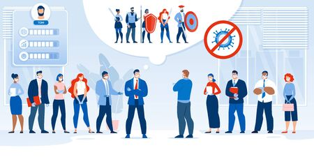 Business Team Battle Fight after Covid19 Pandemic. Company Confrontation. Office Competition, Conflict. Two Leader in Formal Suit with Employee in Respiratory Mask Determine Best Crew. Creative Design