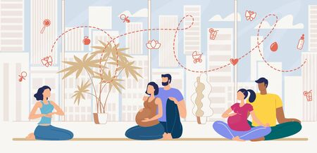 Courses for Pregnant Women Flat Vector Concept with Waiting Childbirth Multinational Couples Sitting Together on Floor During Seminar in Training Center, Listening Lecturer Explanations Illustration