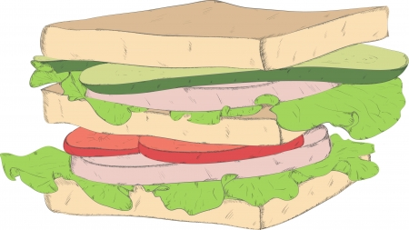 appetizing sandwich with cheese sausage and vegetables Vector