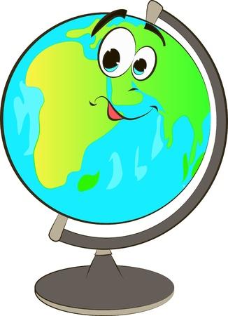meridiano: Dibujos animados feliz globo Vectores