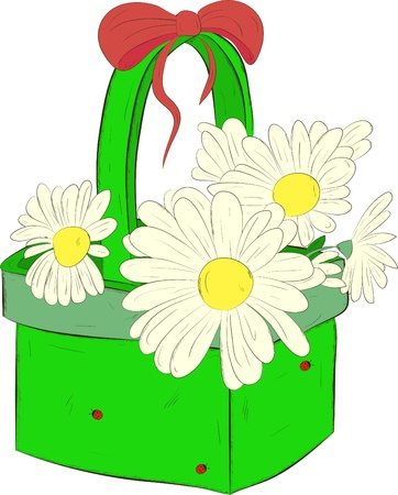 rural wooden bucket: basket with daisies on a white background Illustration