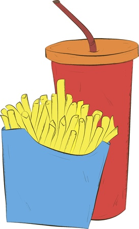 Cola and french fries Vector