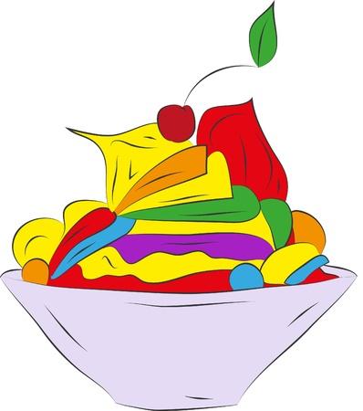 garnish:  fruit dessert ice cream Illustration
