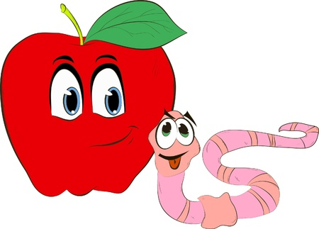 Cartoon worm coming out of an apple Vector